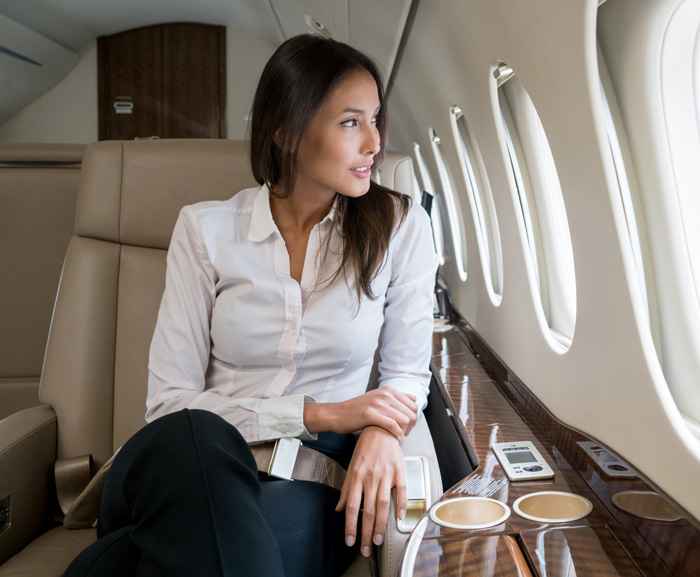 beautiful traveller on plane